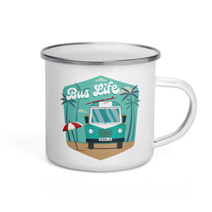 Load image into Gallery viewer, Bus Life at the Beach Enamel Mug
