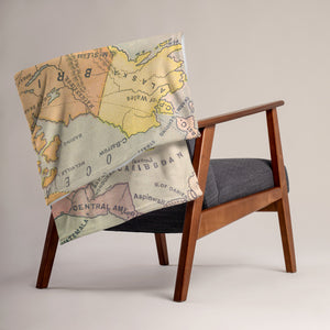 North American Map Throw Blanket