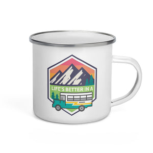 Load image into Gallery viewer, Life's Better in a Bus Enamel Mug