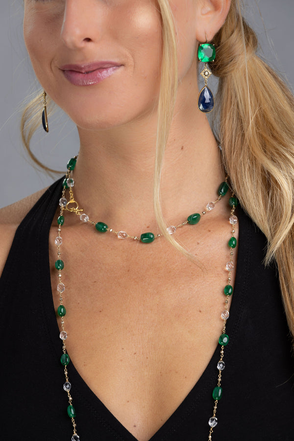 Jelly Bean Emerald & White Topaz Necklace