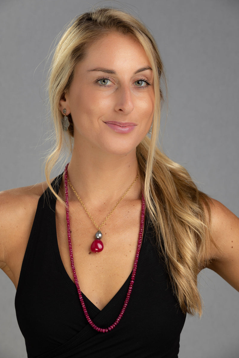 Gray Tahitian Pearl & Red Spinel Necklace