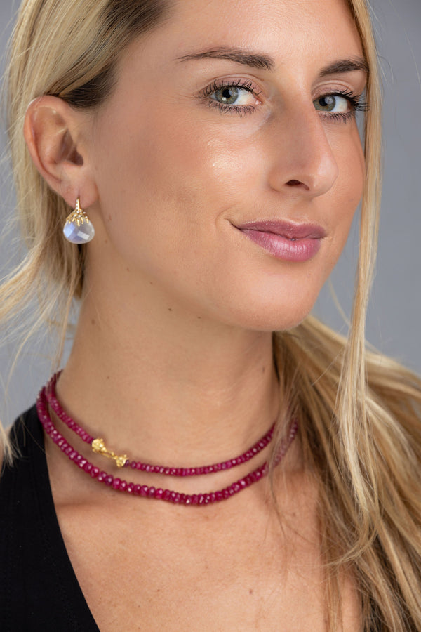 Burmese Ruby Necklace with Gold Clasp