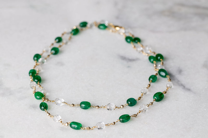 Long Jelly Bean Emerald & White Topaz Necklace