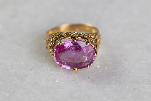 Vintage Pink Sapphire Cushion cut Ring