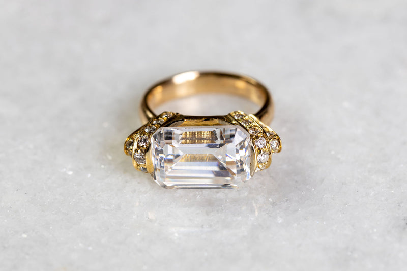 18 karat gold diamond CZ ring