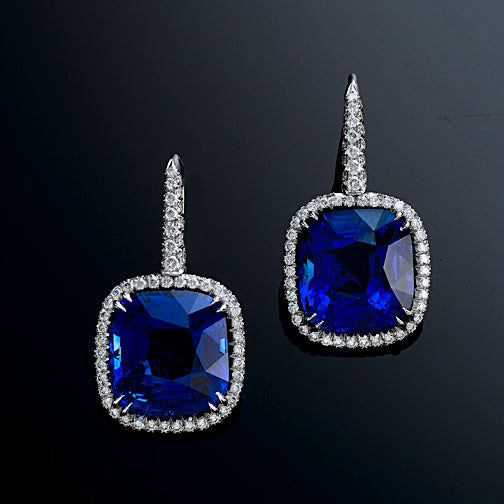 Cushion Cut Sapphire & Diamond Earrings - SOLD