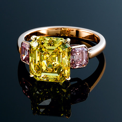 Vivid Yellow and Pink Diamond Ring - SOLD