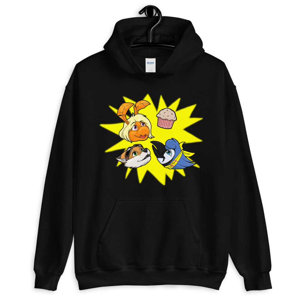 THREE FRIENDS MUFFIN HOODIE