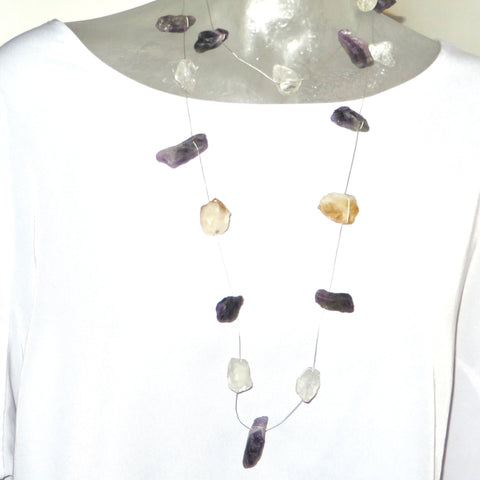 Showstopper - Citrine & Amethyst & Clear Quartz Neck Peace Maker