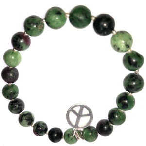 Pure Patience :  Epidote - 8mm with Sterling 2mm and Sterling peace sign charm