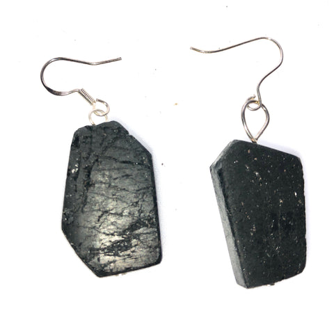 Sheild - tourmaline slab earrings