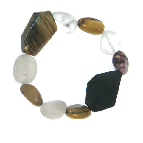 Courage Magnified - Tigers Eye & Snow Quartz Wrist Peacemakers