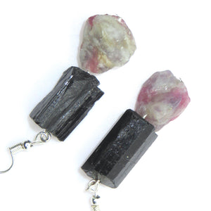 Grounded Strength Ear Peacemakers - Black Tourmaline & Pink Tourmaline