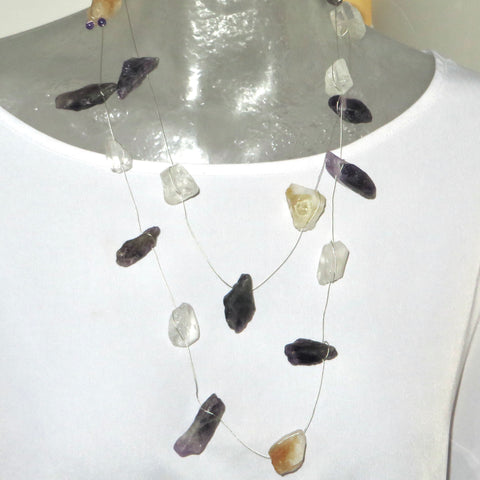 Image of Showstopper - Citrine & Amethyst & Clear Quartz Neck Peace Maker