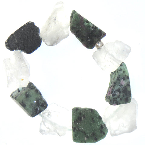 Image of Balance Wrist Peacemaker - Epidote & Quartz. Natural Raw Rough Nuggets