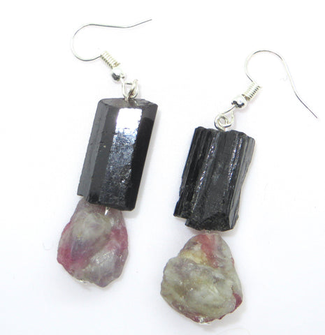 Image of Grounded Strength Ear Peacemakers - Black Tourmaline & Pink Tourmaline