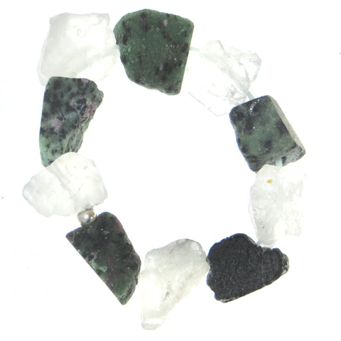 Balance Wrist Peacemaker - Epidote & Quartz. Natural Raw Rough Nuggets