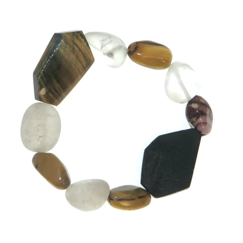Image of Courage Magnified - Tigers Eye & Snow Quartz Wrist Peacemakers