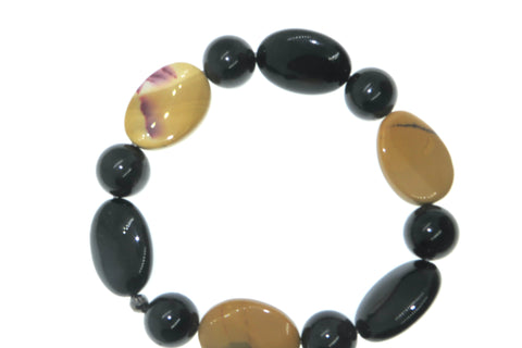 Smooth -Black Agate Tourmaline and Mookaite Wrist Peacemaker XL