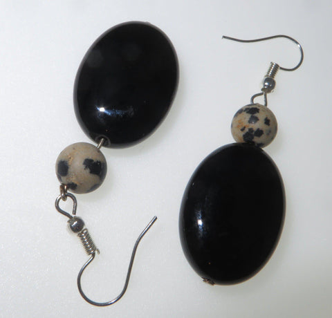 Image of Easy Peace EarPeacemakers  - Black Agate & Dalmation Stone