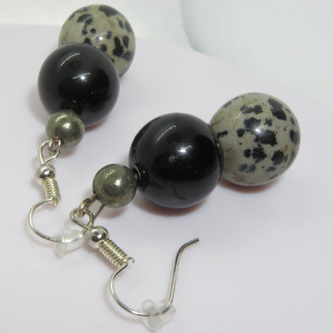 Earrings of Obsidian, pyrite and dalmation stone