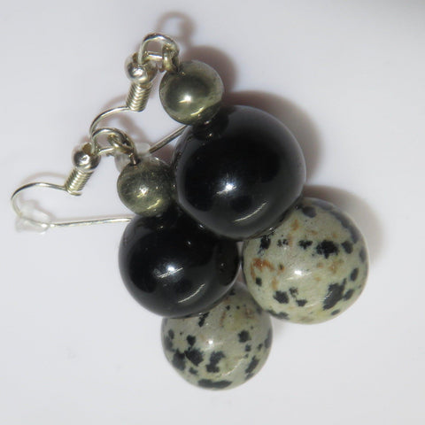 Gold Obsidian, Dalmation and pyrite earrings.