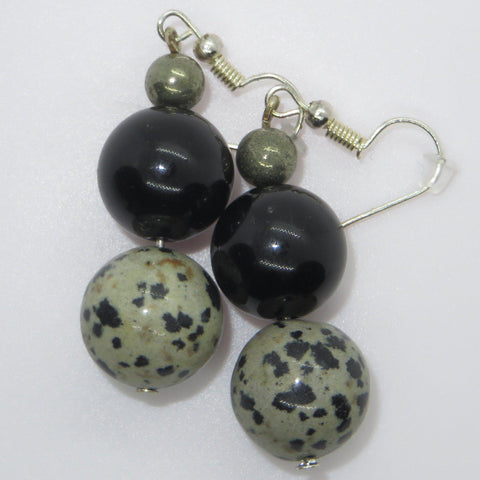 Image of Natural stone earrings of pyrite, gold obsidian and dalmation stone.