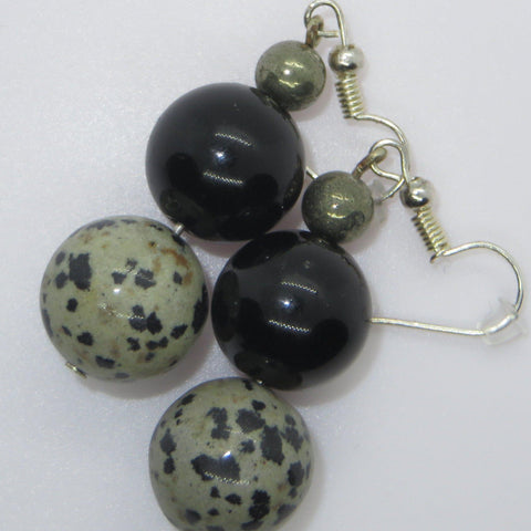 Image of Earrings of Gold Obsidian, pyrite and dalmation stone