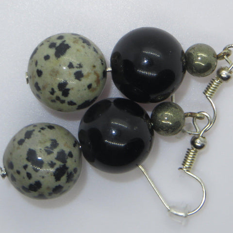 Image of easy to wear earrings of dalmation stone, pyrite and gold obsidian