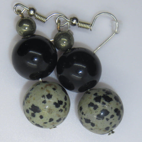 Image of beautiful earrings of gold obsidian, dalmation stone and pyrite.