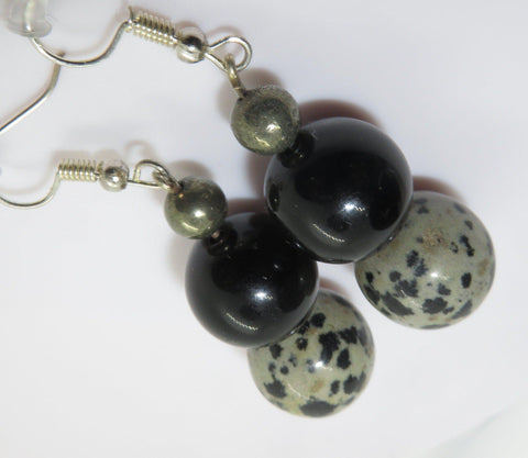 Image of Nurture Me EarPeace Maker - Gold obsidian, Dalmation & Pyrite