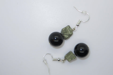 Gold Obsidian & Pyrite Earrings Ear Peace