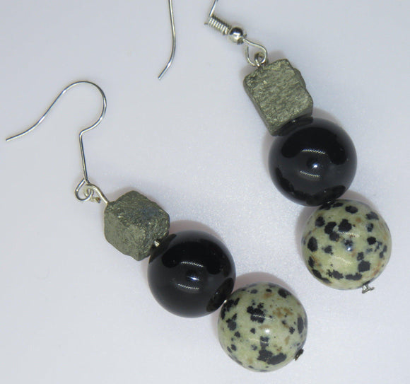 The best dalmation stone, black tourmaline and pyrite cube earrings combine three powerful subtle energies.