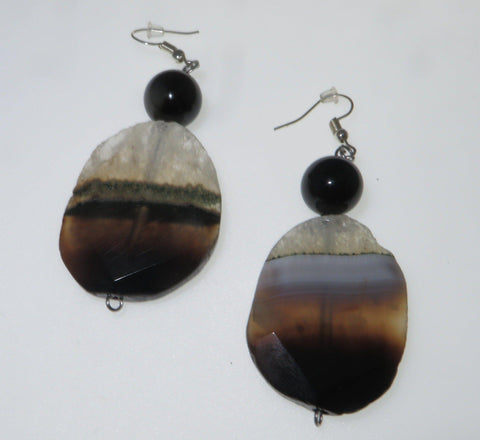 The best sardonyx natural crystal stone earrings with the best black onyx beads.