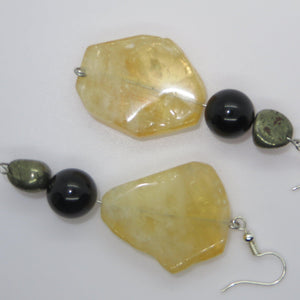 Citrine Earrings with Tourmaline & Pyrite