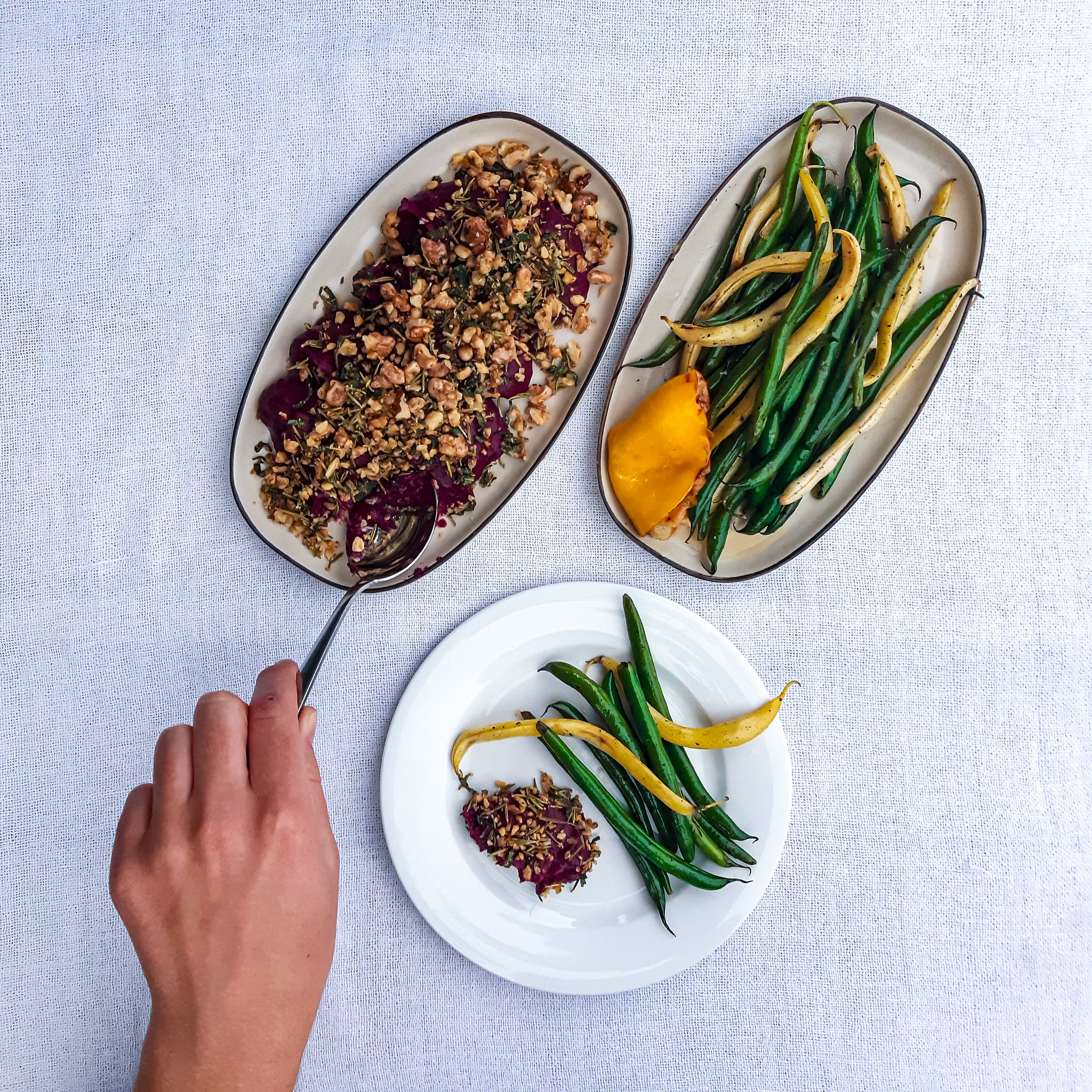 Roasted Purple Carrot Dip with a Herby Walnut Crumb