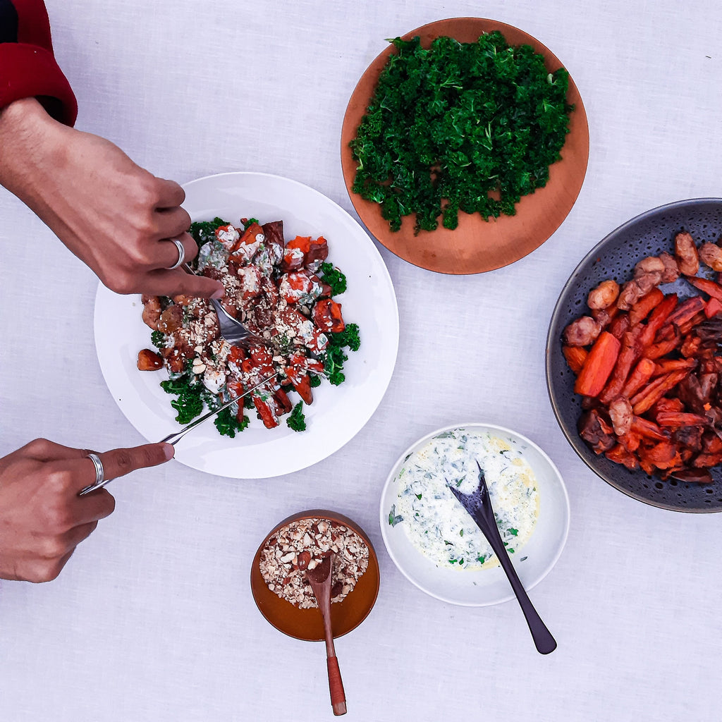 Maple Roasted Vegetable Salad with Yoghurt Dressing and Almond Dukkah, recipe by Hana's Table for Untamed Earth Organic Farm