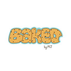 Local Bakery Logo  names BAKED with the font to look like cookies.