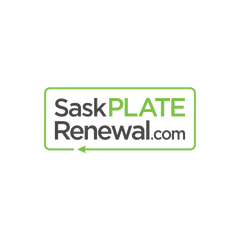 Logo Design for Sask Plate Renewal Website with the text written in a box in the shape of a rectangle and an arrow showing renewal