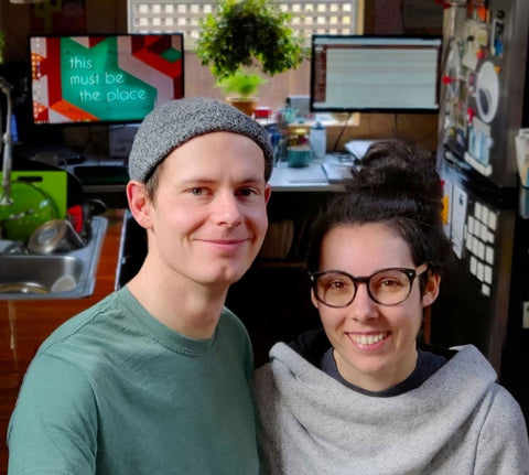 Zack and Robyn Martyn in their freelance design office and tiny house