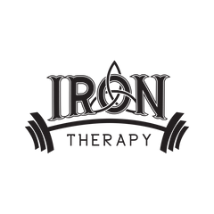 Person Fitness Logo Design with Zen design in the word Iron and a set of dumbells above therapy