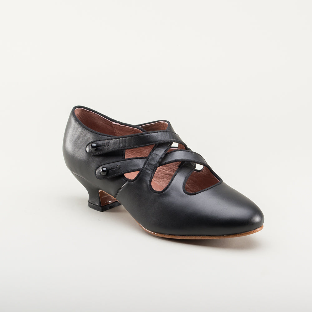 PRE-ORDER Astoria Edwardian Leather Shoes (Black)(1900-1925)