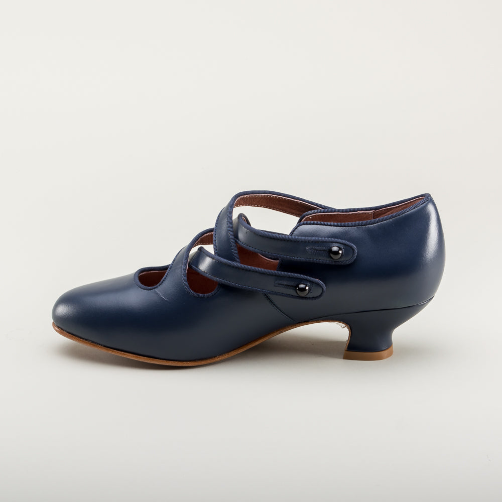 Astoria Edwardian Leather Shoes (Navy Blue)(1900-1925)