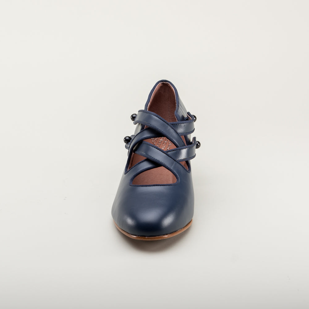 PRE-ORDER Astoria Edwardian Leather Shoes (Navy Blue)(1900-1925)