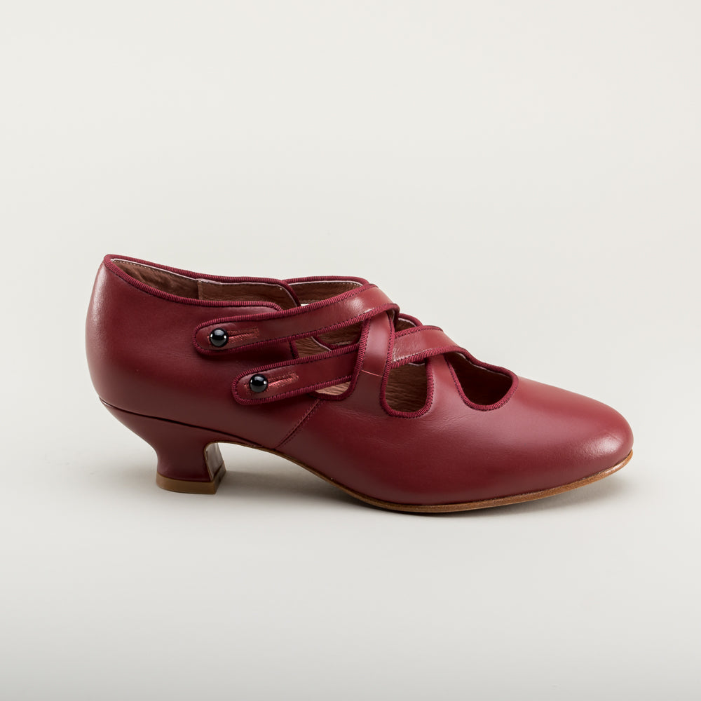 PRE-ORDER Astoria Edwardian Leather Shoes (Oxblood)(1900-1925)