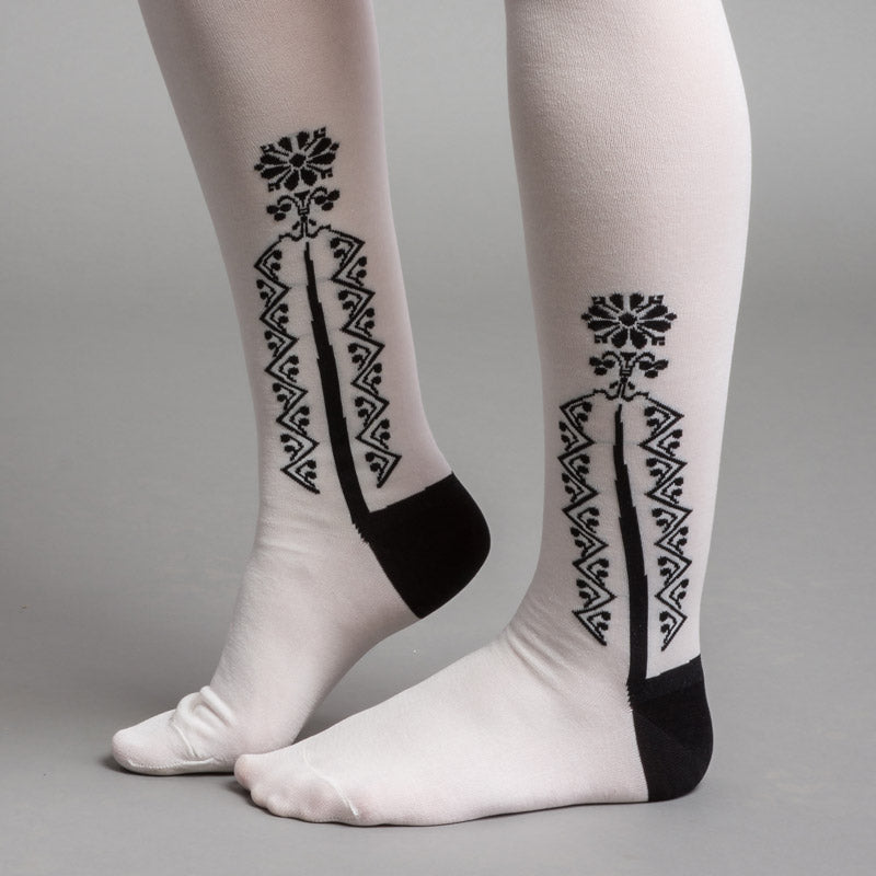 Clocked Silk Stockings (White)