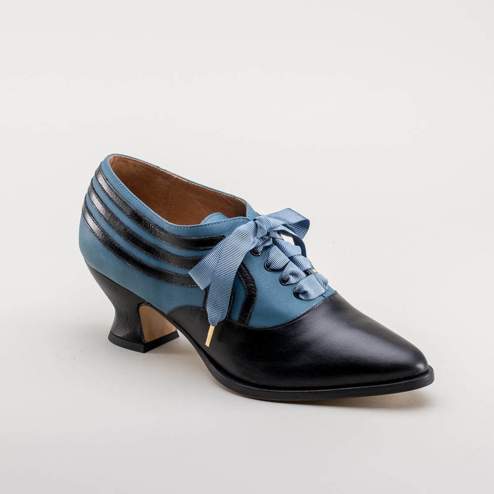 Bernadette Edwardian Oxfords (Blue/Black)(1900-1925)