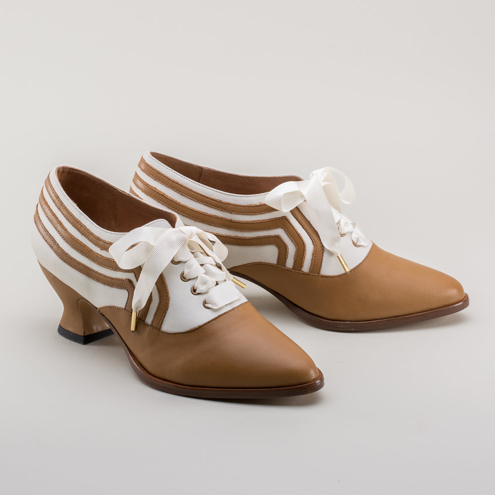PRE-ORDER Bernadette Edwardian Oxfords (Tan/Ivory)(1900-1925)