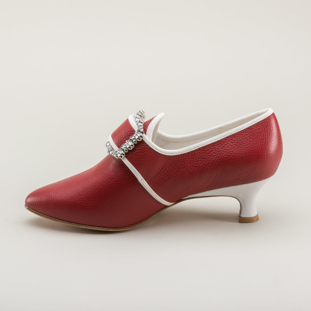 PRE-ORDER Dunmore 18th Century Shoes (Oxblood/White)(1770-1790)