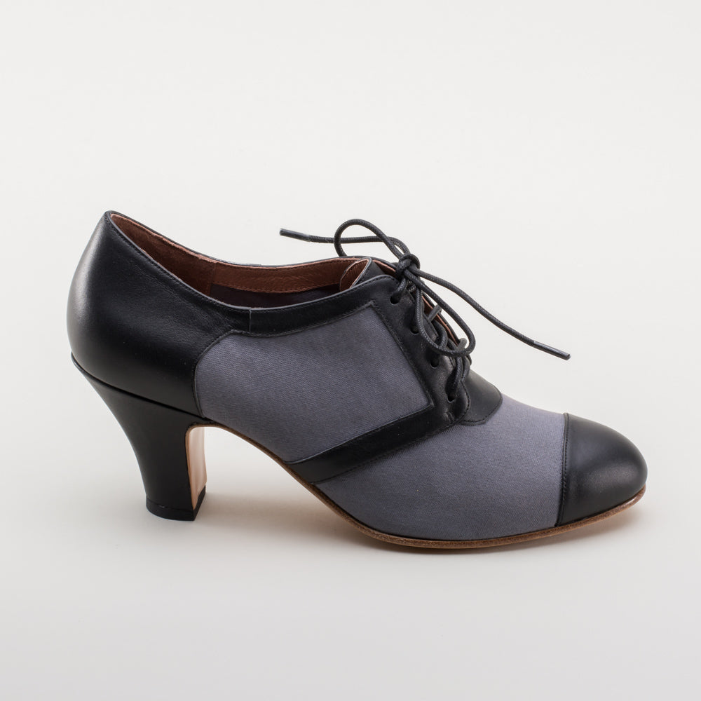 PRE-ORDER Evelyn Retro Oxfords (Grey/Black)(1920-1950)